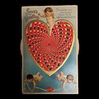 Outstanding Mechanical International Art Publishing Valentine Cupids Love Vintage Postcard
