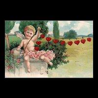 PFB Beautiful Vintage Valentine Cupid holds string of hearts  Series 5855