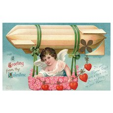 Unsigned Ellen Clapsaddle Vintage Valentine Postcard Cupid in  Zephyr Balloon Series 1035
