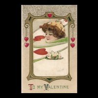 John WInsch Samuel Schmucker Silk Vintage Valentine 1913 postcard