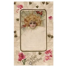 Samuel Schmucker John Winsch Vintage Silk Valentine Postcard Beautiful  Woman in Web