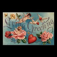 AMB Beautiful Loving Greeting Valentine Blue Sky Cupids Roses Vintage Postcard