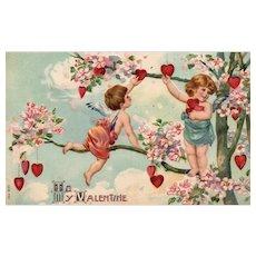 "FUN SB vintage Valentine Postcard Cupids ""Picking"" Hearts off a tree like Apples"