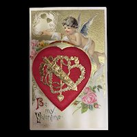 Stunning  Gold Metallic Cupid Decorating Red Silk Heart With Pink Roses Valentine Postcard
