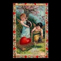 Gorgeous Gold Gilt Gel 1911 Vintage Valentine Postcard Cupids checking weight of heart 270