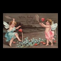 Early 1908 Raphael Tuck Fairy's playing tennis with hearts Vintage Valentine Love greeting