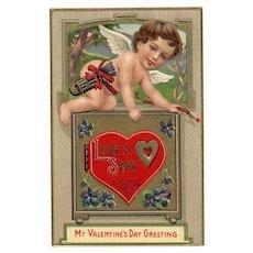 Fabulous Rare John Winsch Vintage Valentine Postcard 1912 Cupid Love's Safe