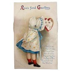 Artist Signed Ellen Clapsaddle Mechanical Valentine Series 16190 Vintage Postcard #1