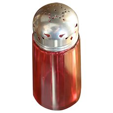 "5 1/4"" Cranberry glass sugar shaker muffineer with original lid"