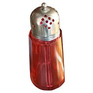 12 Panel Cranberry glass Sugar Shaker muffineer with original lid