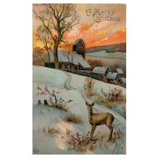 Beautiful Christmas winter Scene with a sunset and deer postcard