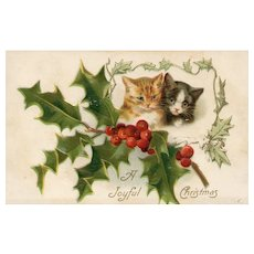 Vintage Christmas Postcard Cat Kittens Embossed