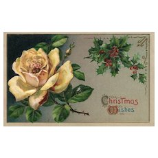 Beautiful Yellow Rose Vintage Christmas postcard