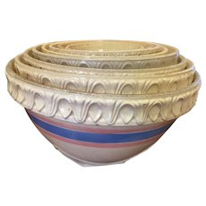 McCoy Yellow ware Mixing Bowl Set of 8 Blue Pink Stripe of them with the pie crust edge