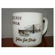 San Francisco Milk Glass Cup Mug Souvenir