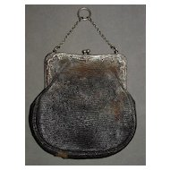 1800's Leather and Sterling Silver Chatelaine Purse