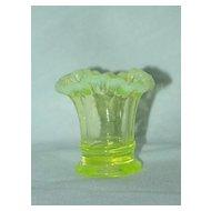 Fenton Topaz Opalescent Tri Corner Glass Mini Vase - 1940's