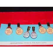 Six Advertising Pencil Pocket Clips - Morton Salt / Home Town Bread