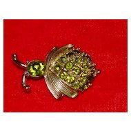 Green Rhinestone Beetle Bug Pin