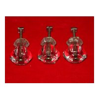 Three Clear Glass Drawer Knobs