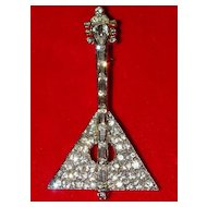 Adorable Vintage Rhinestone Guitar Pin