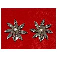 Pair of Weiss Rhinestone Earrings - Flower Blossoms