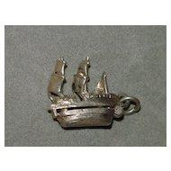Vintage Mechanical Silver Charm - Sailing Ship