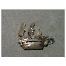 Vintage Mechanical Silver Charm - Sailing Ship