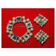 Bright Vintage Marvella Brooch and Earring Set - Faux Pearls