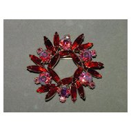 Vintage Rhinestone Circle Pin in Red and Pink AB