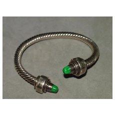 Sterling Silver Bracelet with Aventurine Tips - Over 66 Grams