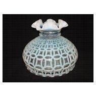 Fenton French Opalescent Double Wedding Ring Optic Vase