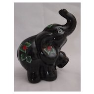 Fenton Black Glass Elephant with Handpainted Ladybugs