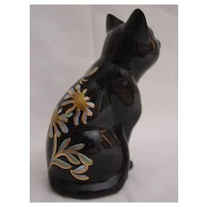 Fenton Handpainted Black Cat with Golden Daisies