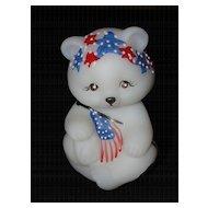 Fenton Hand Painted Patriotic Glass Bear