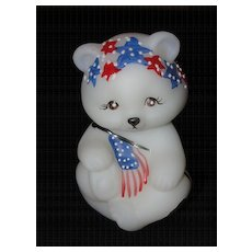 Fenton Hand Painted Patriotic Glass Bear