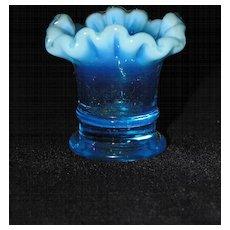Fenton Art Glass Blue Opalescent Glass Mini Vase