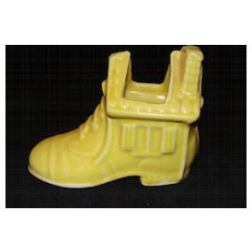 Vintage Yellow Ceramic Old Woman in a Shoe Planter