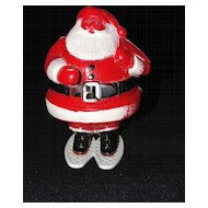 Vintage Plastic Santa on Showshoes Candy Container