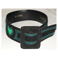 Vintage Escada Designer Leather Belt Black with Green Hearts