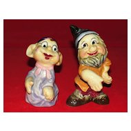 Vintage Pair of Seven Dwarfs Salt and Pepper Shakers Japan