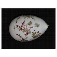 Hand Blown Glass Victorian White Easter Egg