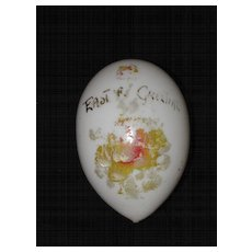 Hand Decorated White Victorian Glass Easter Egg