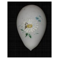 Satin Glass White Victorian Easter Egg Hand Blown