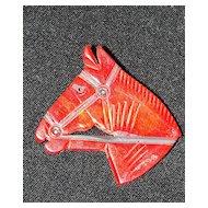 Vintage Red Bakelite Hand Carved Horse Head Brooch