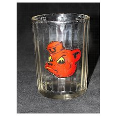 Vintage Ribbed Glass with Red Bear