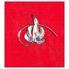 Pretty Sterling Silver Hobe Floral Pin