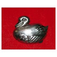 Sterling Silver Duck Brooch Pendant