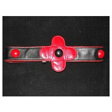 Carlos Falchi Red and Black Leather Belt