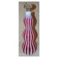 Fenton New World Cranberry Rib Optic Glass Wine Decanter